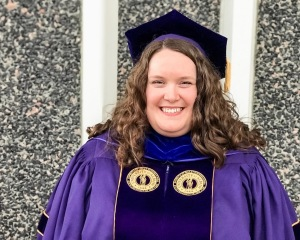 Dr. Colleen Wynn in University at Albany, SUNY doctoral regalia